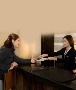Front desk will assist you with postage services