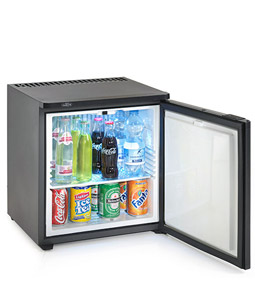 Mini refrigerator is stocked with Mineral water